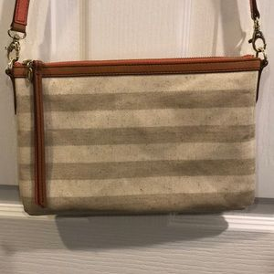 "Fossil Stripe Coated ""Canvas"" Crossbody Clutch"